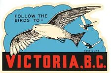 Victoria  British Columbia Canada  Vintage - Looking  Travel Decal Sticker Label