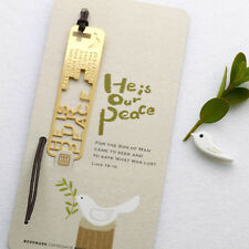 He is our PEACE Christian Bible 18k GP Bookmark with Leather String for Gift