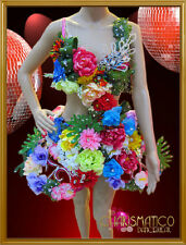 CHARISMATICO Playful Carnival inspired flower and front covered pink cage dress