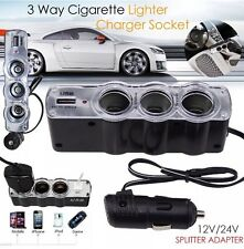 12V/24V 4 WAY MULTI SOCKET CAR CIGARETTE LIGHTER SPLITTER USB PLUG CHARGER MP3 U