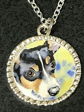 "Dog Rat Terrier B Charm Tibetan Silver with 18"" Necklace BIN"