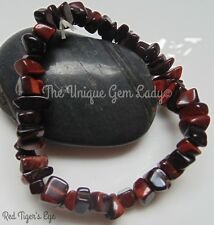 Red Tiger's Eye Chip Bead Beaded Stretch Bracelet ~ Gemstone Crystal ~ Handmade