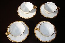 GERMANY SYLVIA HAND PAINTED SET OF 4 COFFEE / TEA CUPS AND SAUCERS