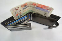High Quality Luxury Mens Soft Leather Wallet with Back Zip and Coin Pocket Brown