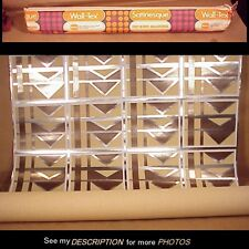 1960s Unused Roll Geometric Foil Wallpaper Silver, Tan, Brown & White Wall-Tex