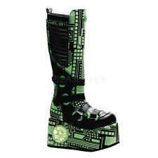 Demonia Techno-856 goth cyber UV reactive black lime circuit boots men 9 CLOSEOU