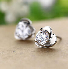 New White Gold Filled Silver Plated Heart Shape Setting Clear CZ Stud Earrings