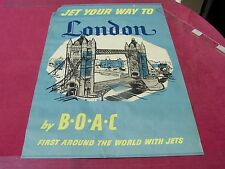 """JET YOUR WAY TO"" "" London "" 1957 B.O.A.C.  Blue Travel poster- seriograph"