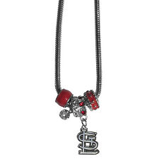St. Louis Cardinals Snake Chain Necklace with Euro Beads MLB Licensed Jewelry