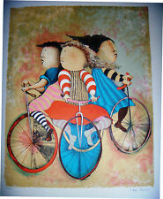 "Gracil Rodo Boulanger Hand S/N LE ""Three Bicycles"" Children bicycling sports art"