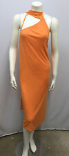 HALSTON DRESS NWT LOW BACK OPEN SHOULDER LONG DRAPED SCARF TANGERINE SEXY 42