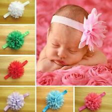 10pcs/lot Newborn Baby Girl's Chiffon Flower Toddler Elastic Headbands Hairband