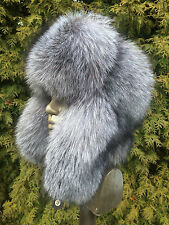Silver Blue Frost Fox Fur Full Ushanka Hat. Top quality Finland Furs. Adjustable