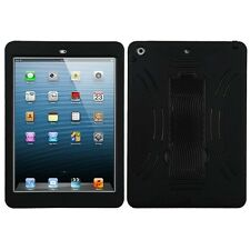 iPad AIR iPad 5 (5th Gen) - HARD&SOFT RUBBER HYBRID ARMOR STAND CASE COVER BLACK