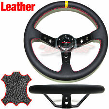 Corsica DEEP DISH Style LEATHER Drift Steering Wheel RED Trim BLACK 350mm BLACK