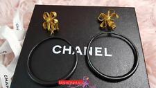 Vintage 93P RARE CHANEL Massive XL Bow Hoop Dangle Gold Tone Earrings