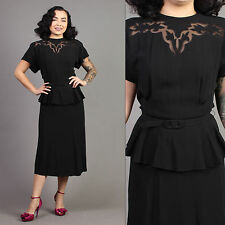 vtg SHEER CUT-OUT crepe peplum wiggle wwii cocktail pinup holiday dress 40s M/L