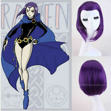Teen Titans Raven Wig Purple Hair Girl's Straight Short Anime Cosplay Wig Purple