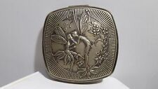 """Old Vintage """"Poudre Djer-Kiss Kerkoff """" Silver-Plate Powder Compact Art Noveau"""