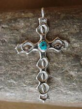 Navajo Indian Traditional Handmade Sterling Silver Turquoise Cross Pendant!