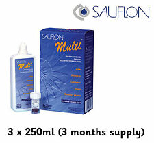 3 Months Sauflon Multi 3 x 250ml Contact Lens Solution one step peroxide system