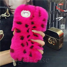 Luxury Winter Warm Fluffy Plush Genuine Rabbit Fur Case Cover for Cell Phones