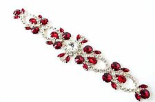 Red and Crystal Applique with silver backing