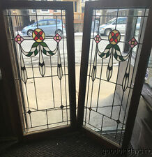 """Pair of 1920s Chicago Bungalow Stained Leaded Glass Windows / Doors 45"""" by 22"""""""