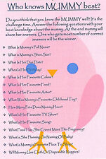 Baby Shower Game/Who Knows Mummy Best? GIFT FOR MUM/KEEPSAKE  *FIRST CLASS POST*