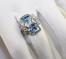 Vintage silver tone Sarah Cov Coventry blue heart stone double ring adjustable
