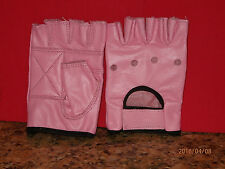 PINK LEATHER FINGERLESS GLOVES - SIZE EXTRA LARGE