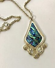 Kendra Scott Teresa Pendant Necklace, Abalone Shell 14 KT Gold brass