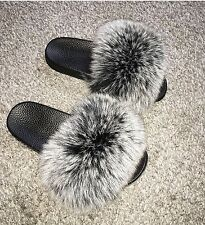 Womens Fox Fur Handmade Slides Sandals Slippers Sliders New New Boutique
