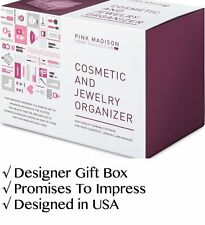 Acrylic Makeup Organizer by Pink Madison® Gift Box. Large Clear Acrylic Makeup