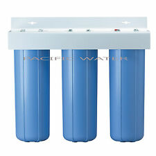"""TRIPLE BIG BLUE WATER FILTERS HOUSING/Canister For 4.5"""" X 20"""" Filter with 1""""NPT"""