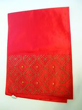 GORGEOUS RED SILK CHARTRUCE GREEN EMBROIDERY CHRISTMAS TABLE RUNNER  DECORATION
