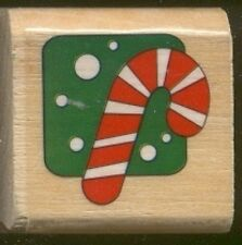 CANDY CANE Christmas HOLIDAY Gift Tag Word Wood Mount Craft RUBBER STAMP