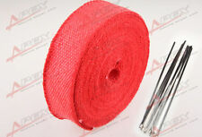 "FIBERGLASS Exhaust Thermo Wrap Tape High Heat 2"" x 1/16X50FT Cloth Roll RED F"