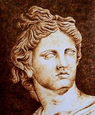 ORIGINAL PYROGRAPHY (DRAWING WITH FIRE) ON PAPER-ROMAN/GREEK GOD APOLLO