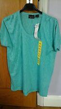 Kersh Ladies Scoop Neck 'Snake Skin' Effect Loose Fit T-shirt Top Pale Green S