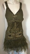 SUE WONG 1920's Gatsby Olive Beaded Sequin Embellished Feather Dress Flapper 2