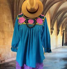 Blue & Multi-Color Hand Embroidered Blouse Maya Chiapas Mexico, Hippie Boho