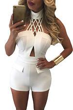 NEW White Choker Crop Top High Waist Shorts Matching Co Ord Set Dress 8 10 12 14