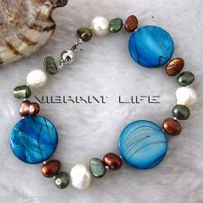 "8"" 6-20mm Multi Color Freshwater Pearl & Shell Bracelet Blue AC"