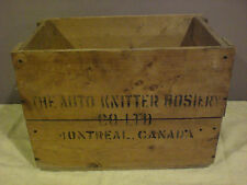 Vintage Sock knitting machine Auto Knitter Montreal wooden crate