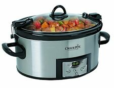 6 Quart Qt Large Slow Cooker Stainless Crock Pot Crockpot Oval Programmable
