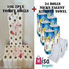 108 Toilet Tissue Rolls 2 Ply 200 Sheet & 24 Roll Nicky Talent Kitchen Towels