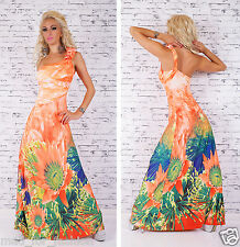 SEXY ONE SHOULDER ORANGE MAXI DRESS WITH COLOURFUL PRINT.ONE SIZE;8/10/12.