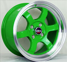 4  DRIFT DR7 WHEELS 15X8 4X100 GREEN CRX CIVIC SI DEL SOL FIT PRELUDE HYUNDAI