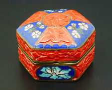 China Dose Rotlack Cloissone chinese box cinnabar lacquer